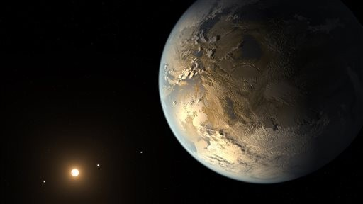 Artist's rendering provided by NASA on Thursday, April 17, 2014, shows an Earth-sized planet dubbed Kepler-186f orbiting a star 500 light-years from Earth. (photo credit: AP/NASA Ames, SETI Institute, JPL-Caltech, T. Pyle)