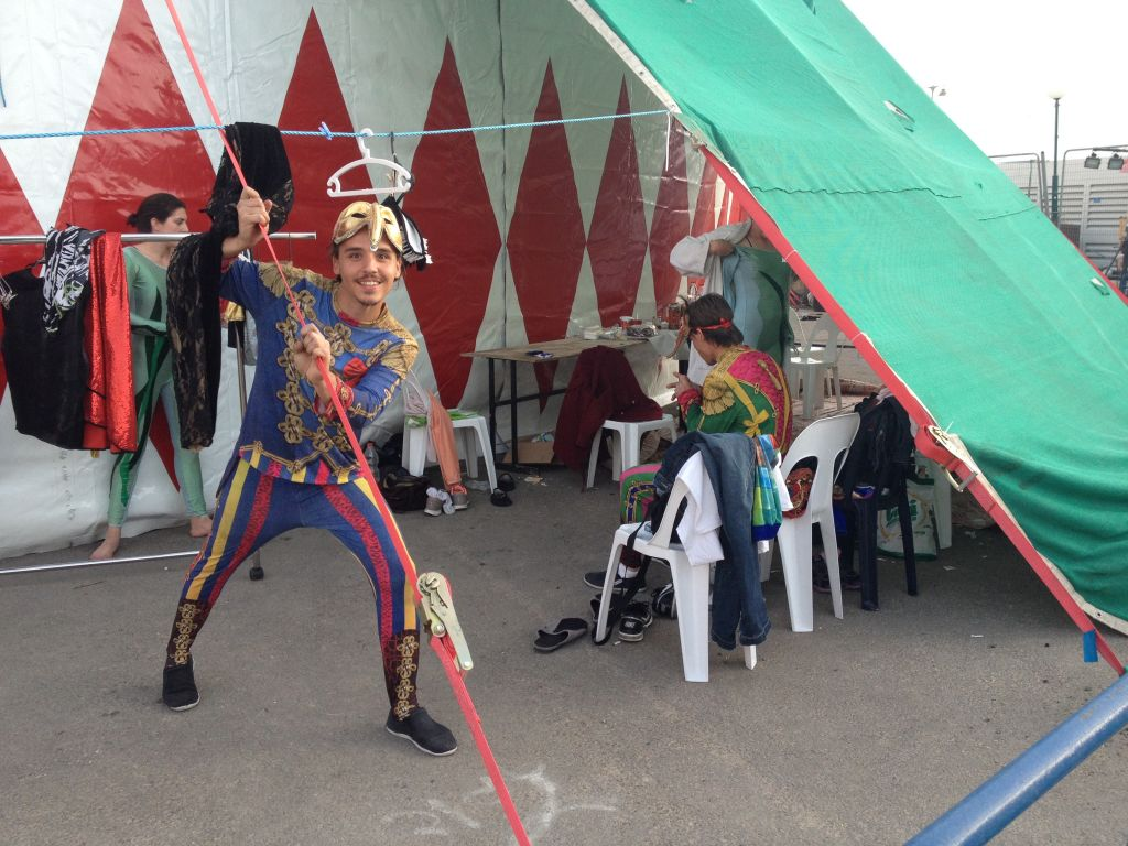 Clowning around backstage at the Florentin Circus (photo credit: Jessica Steinberg/Times of Israel)