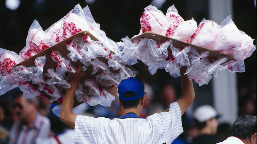 A cotton candy vendor roams the Wrigley Field stands in 1994. (Jonathan Daniel/Getty Images via JTA)