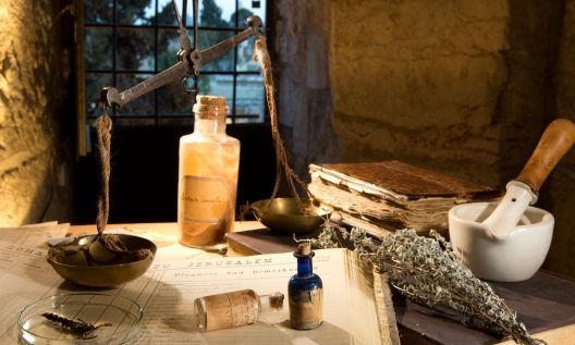 Some of the pharmaceutical artifacts gathered by curator Dr. Nirit Shalev-Khalifa for the Tower of David's medical exhibit (Courtesy Tower of David Museum)