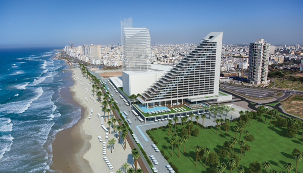 An artist's rendering of the terraced-shaped Sea Hotel on the Mediterranean in Bat Yam.