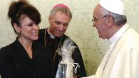 Interfaith leader Betty Ehrenberg last year with Pope Francis. Photo courtesy of IJCIC