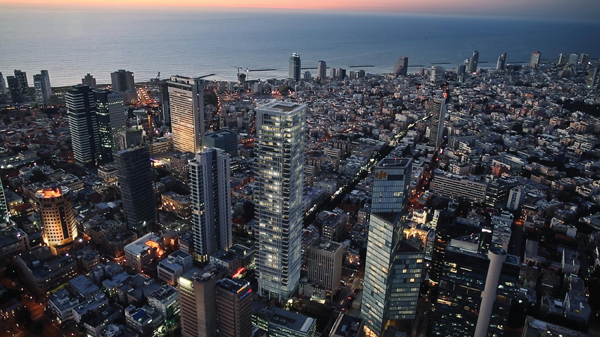 The Tel Aviv skyline, with Meier On Rothschild, one of the city's newest highrises, center.
