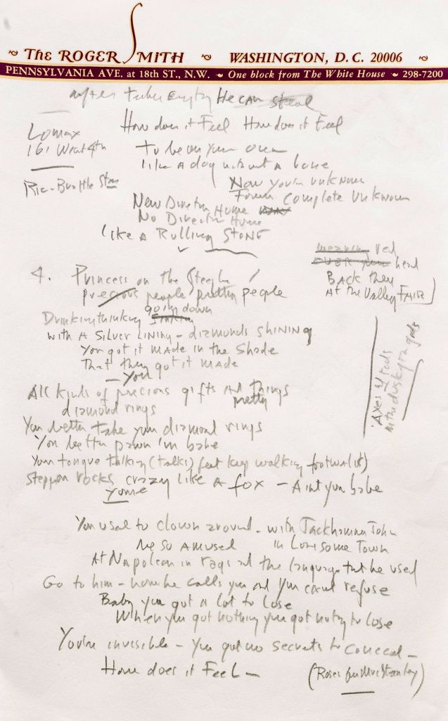 "Another page from a working draft of Bob Dylan's ""Like a Rolling Stone"" (photo credit: AP/Sotheby's)"