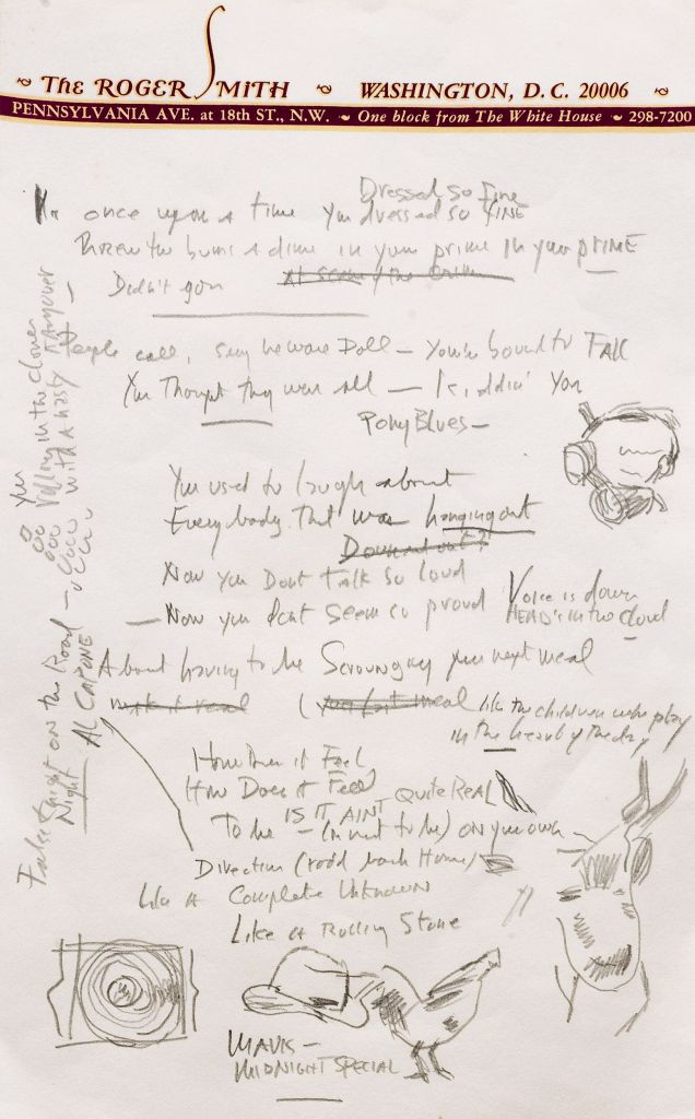 "More of Bob Dylan's draft ""Like a Rolling Stone"" (photo credit: AP/Sotheby's)"