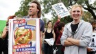 Des manifestants australiens contre le politicien Geert Wilders à Sydney (Crédit : Brendon Thorne/Getty images via JTA)