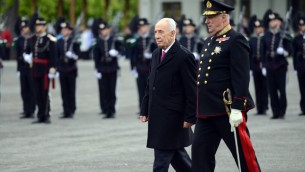 President Shimon Peres in Oslo, Norway on May 12, 2014 (photo credit: Haim Tzach/GPO)