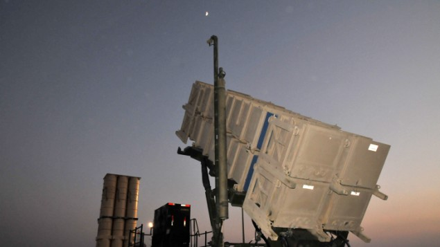 Un système antimissile Patriot en Israël (Crédit : Shay Levy/Flash 90)