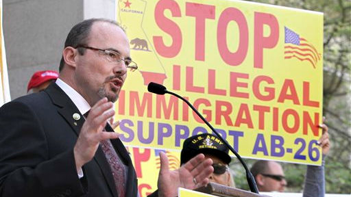 Assemblyman Tim Donnelly, R-Twin Peaks, at a news conference in Sacramento, California, April 4, 2011  (photo credit: AP)