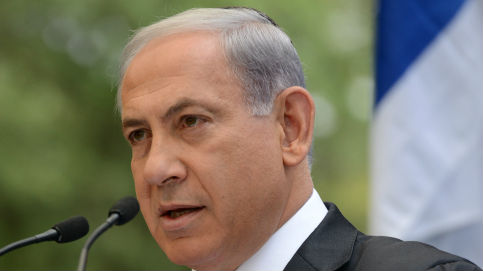 Prime Minister Benjamin Netanyahu speaks during a ceremony at the Mount Herzl military cemetery in Jerusalem, on Memorial Day, May 5, 2014 (photo credit: Kobi
