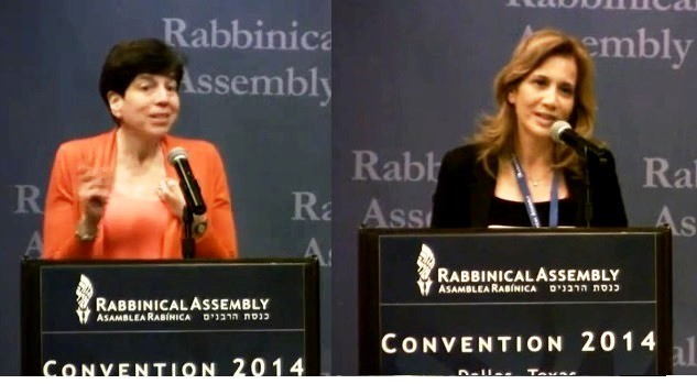 Conservative Rabbi Julie Schonberg (L.) responds to Yesh Atid MK Aliza Lavie (R.) at the Rabbinical Assembly of the Conservative Movement in Dallas, Texas, Thursday, May 15, 2014. (screen capture, YouTube)