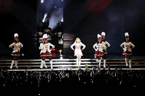 Madonna, performing in 2012 in Tel Aviv. Courtesy of MDNA/Young