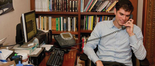 """Rabbi Sarna in his NYU office. Boycott vote by the American Studies Association """"did not echo much on campus."""""""