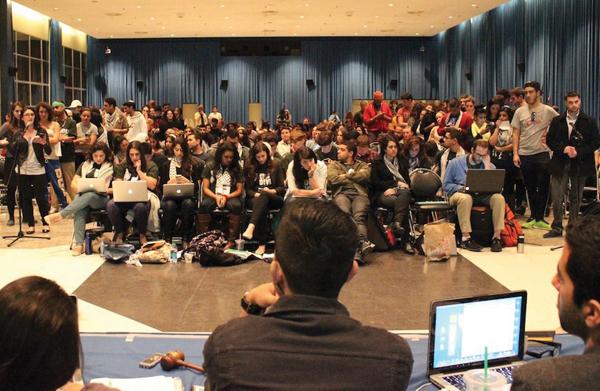 Members of UCLA's student government listen to supporters and opponents of a divestment resolution targeting Israel.