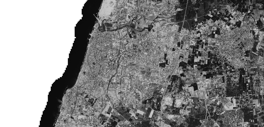 Satellite image of Tel Aviv from the 1960s (photo credit: Center for Advanced Spatial Technologies, University of Arkansas/U.S. Geological Survey)