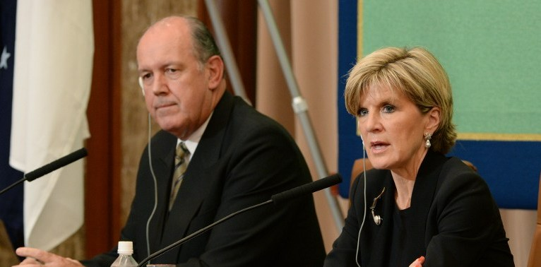 Australian Foreign Minister Julie Bishop (R) gestures as she answers questions beside Defence Minister David Johnston (L) during a press conference at Japan National Press Club in Tokyo on June 12, 2014.  (photo credit: AFP/Toru Yamanaka)