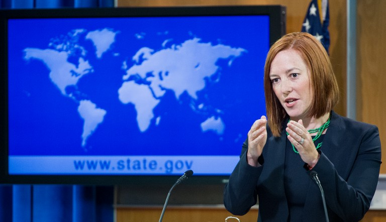 US State Department Spokeswoman Jen Psaki (photo credit: AFP/Paul J. Richards)