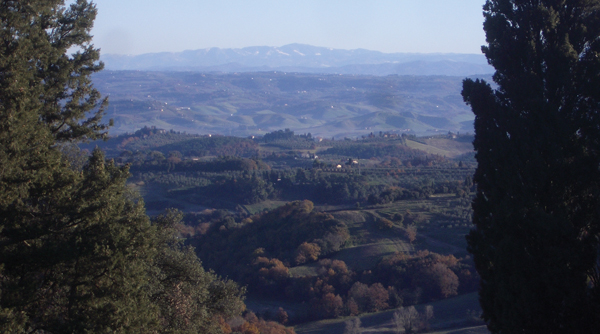 The hills overlooking Florence, where the author and her mother traveled together.  Wikimedia Commons