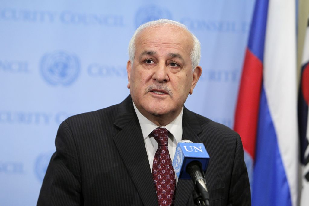 Palestinian representative Riyad Mansour addressing journalists after the Security Council meeting on Monday. (photo credit: UN/Devra Berkowitz)