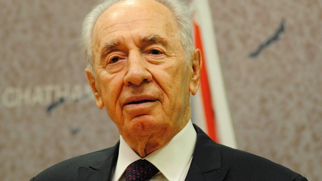 Le président Shimon Peres (Crédit : chatham house/Flickr/CC BY SA 2.0/Wikimedia commons)