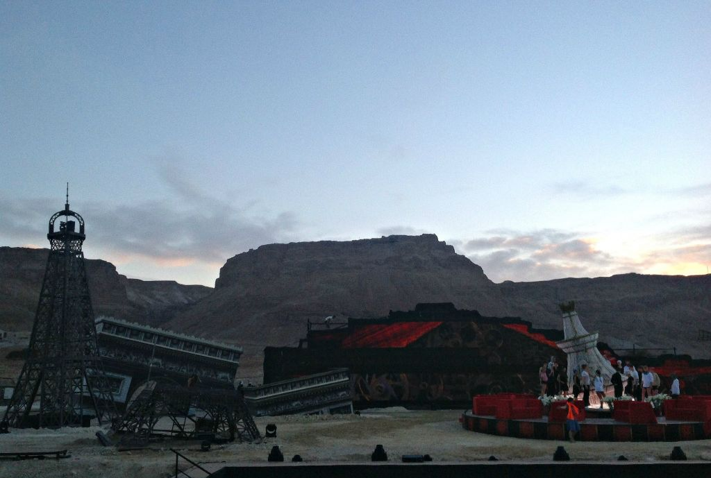 Preparing for the first dress rehearsal  of La Traviata at Masada (photo credit: Jessica Steinberg/Times of Israel)
