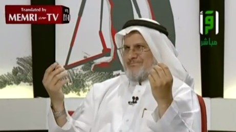 Saudi scholar Nabil Hammas explains the Jewish-Zionist conspiracy in a TV interview (Photo credit: Youtube screen capture)