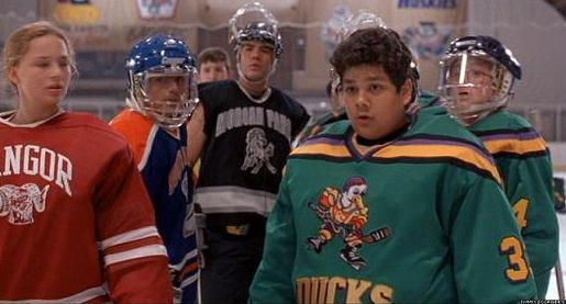 Disney's 'The Mighty Ducks' goalie Greg Goldberg (right) was nearly at the center of an anti-Semitic incident in the final film, according to producer Jordan Kerner. (photo credit: YouTube screenshot)