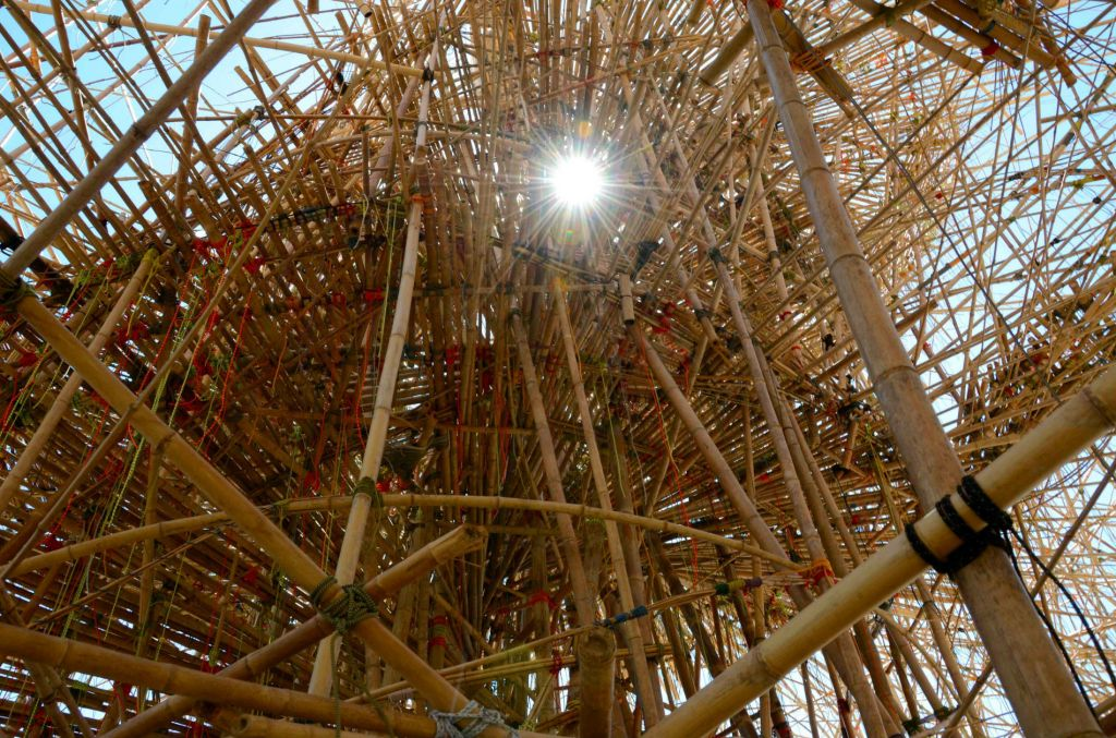 a bamboo forest grows among the sculptures at the israel