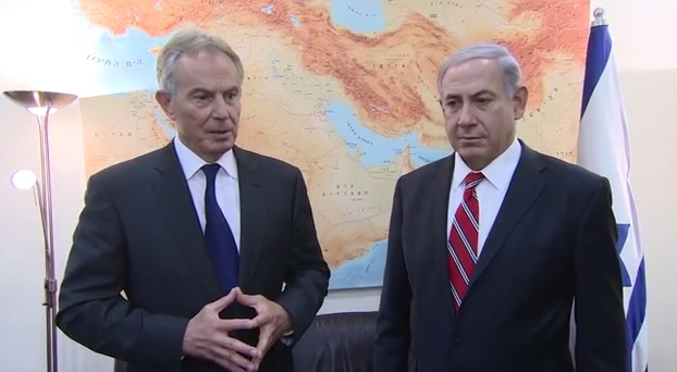 Prime Minister Benjamin Netanyahu (R) with Middle East Quartet Envoy Tony Blair (L) on June 17, 2014 (photo credit: Youtube screenshot)