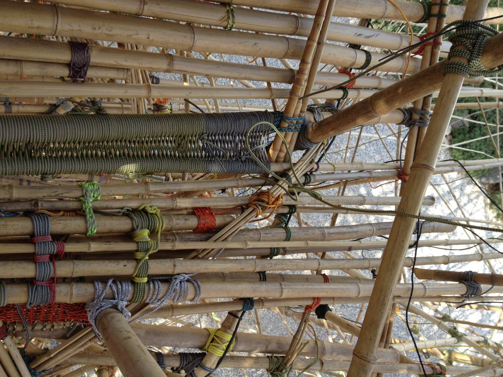 The intricate ties, knots and webbing of Big Bambú (photo credit: Jessica Steinberg/Times of Israel)