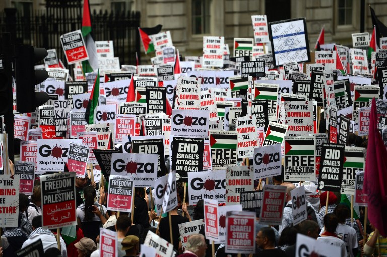 Tens of thousands rally in London against Israel's Gaza op