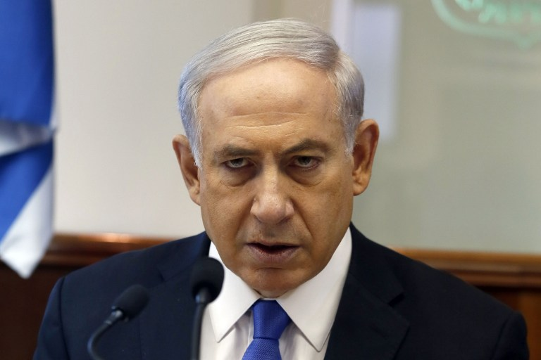 Israeli Prime Minister Benjamin Netanyahu speaks as he chairs the weekly cabinet meeting on July 6, 2014 at his Jerusalem office. (AFP/Pool/Gali Tibbon)