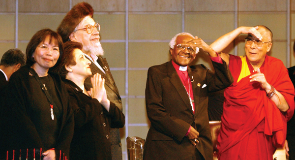 Reb Zalman Schachter-Shalomi, third from left, with Archbishop Desmond Tutu and the Dalai Lama in 2004.