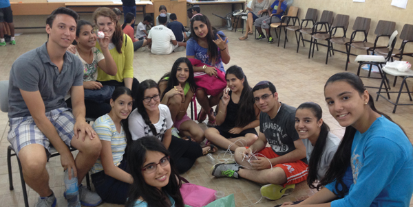YU students, above, at camp for at-risk Israeli teens in town near Gaza border. Courtesy of Counterpoint Israel