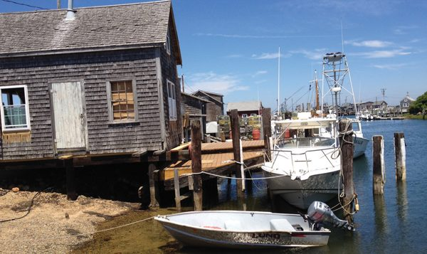 Menemsha Harbor, as seen from the porch of the Galley, a takeout lunch spot. Hilary Larson/JW