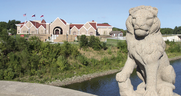 The National Czech and Slovak Museum and Library lies on the banks of the Cedar River across Lion's Bridge.  Cedar Rapids Conven