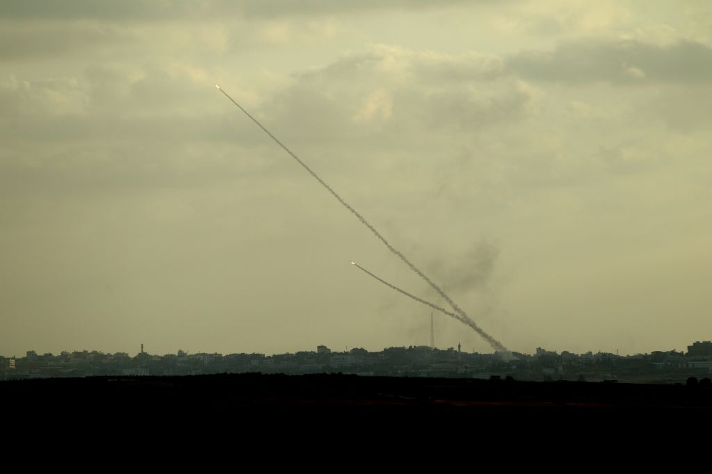 Rockets shot out of Gaza on July 15, 2014. (photo credit: Yossi Aloni/FLASH90)