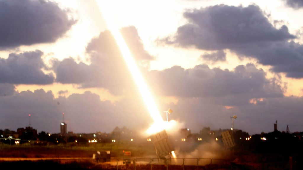 An Iron Dome missile defense battery set up near the southern Israeli town of Ashdod fires an intercepting missile on July 16, 2014. (photo credit: Miriam Alster/Flash90)