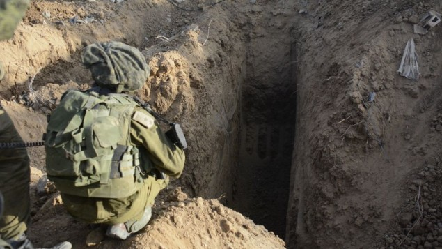 A photo released by the IDF shows a Hamas tunnel discovered by soldiers from the Paratroopers Brigade in the Northern Gaza Strip on July 18, 2014. (photo credit: IDF Spokesperson/Flash90)