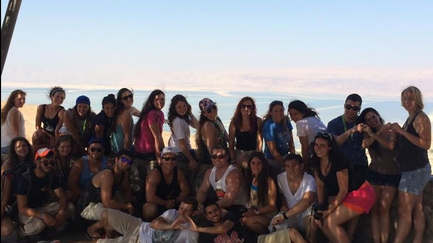 Lila Faria's Taglit-Birthright group, seen here at the Dead Sea. (courtesy Deborah Gaines)