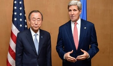 UN Secretary-General Ban Ki-moon and US Secretary of State John Kerry address reporters on the Gaza situations, July 21, 2014. (Photo credit: US Department of State)