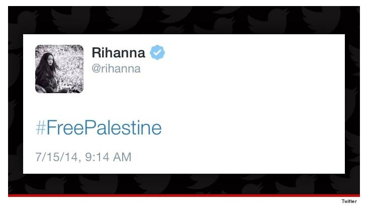 Pop star Rihanna's controversial tweet with the #FreePalestine hashtag. (screencapture: TMZ)