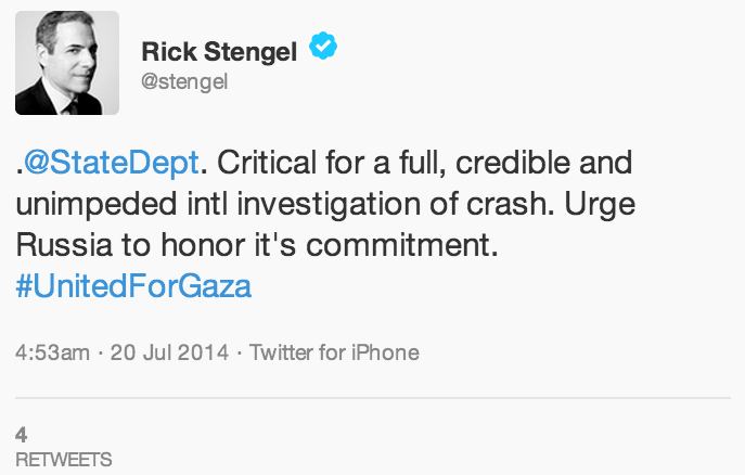 Undersecretary of State Rick Stengel tweets #UnitedforGaza (screen capture: Twitter)