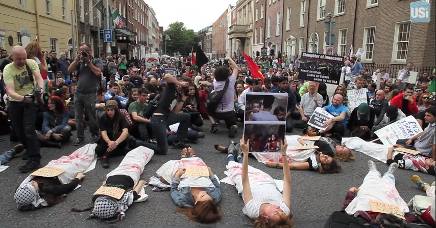 Illustrative: a pro-Gaza 'die-in' protest in Dublin on July 19, 2014. (YouTube screenshot)