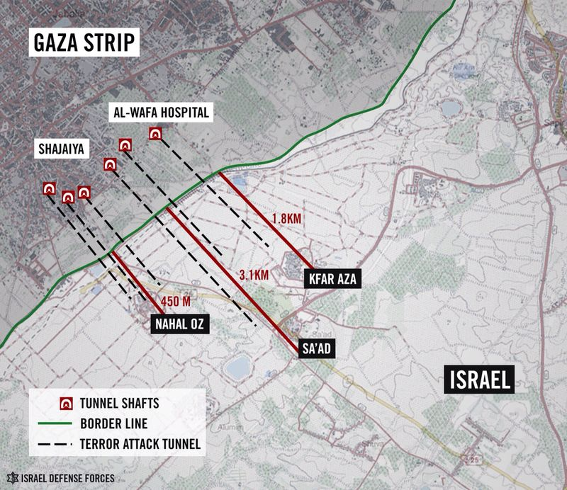 A map of attack tunnels in Gaza provided by the IDF