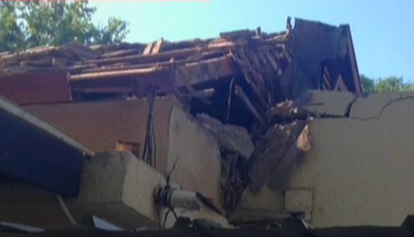 A house in Shaar HaNegev is hit by a rocket (photo credit: Channel 2 screenshot)