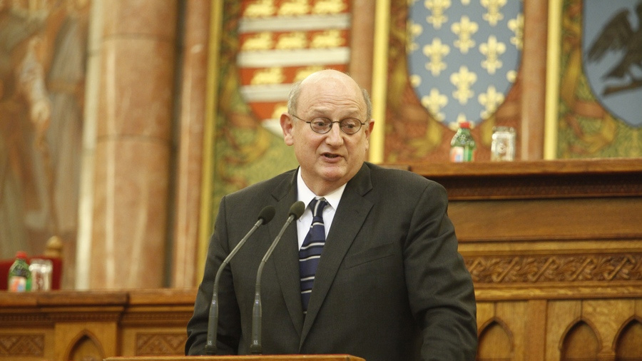 Ira Forman, the U.S. State Department's special envoy to monitor and combat anti-Semitism, speaking at the Hungarian parliament in Budapest, October 2013. (Tom Lantos Institute/via JTA)