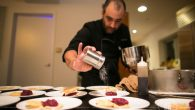 Chef Ygael Tresser prepares Red Fruit Mille Feuille for dessert. Courtesy of Chana Blumes.