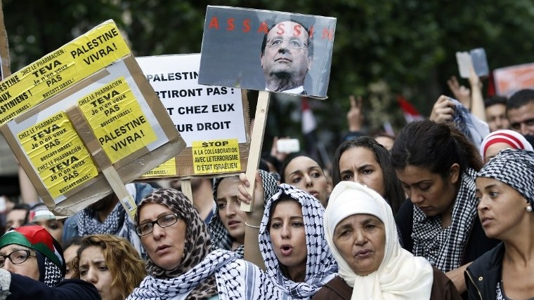 "Protesters hold placards calling for the boycott of Israel and one depicting French president Francois Hollande with the word ""assassin"", on July 13, 2014 in Paris, during a demonstration against Israel and in support of residents in the Gaza Strip, where a six-day conflict has left 166 Palestinians dead.  (photo credit: KENZO TRIBOUILLARD / AFP)"