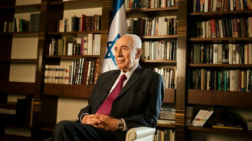 Former president Shimon Peres at the President's Residence in Jerusalem, Tuesday, July 15, 2014 (photo credit: AP/Dan Balilty)